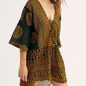 Free People Easy Day Romper New Printed New